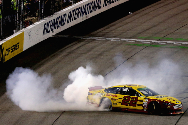 Logano's post race celebration added to the tyre failure count (Credit: Sean Gardner/Getty Images for NASCAR)
