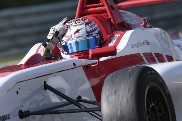 George Russell claimed his third win of the season in Brands Hatch race three