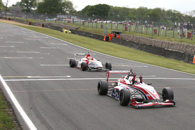 Hyman crosses the line to take his second victory of the season