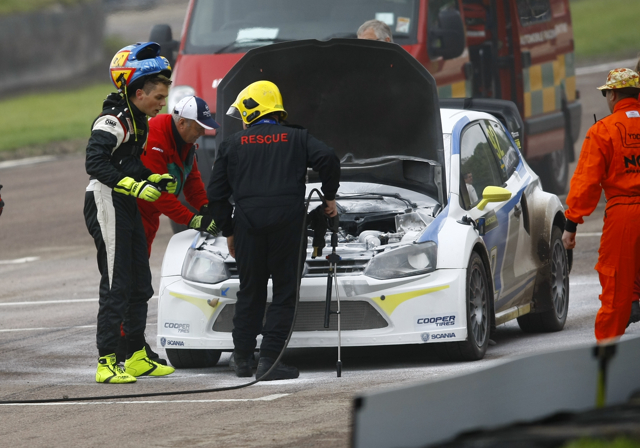 Anton Marklund's inspects his VW Polo after fire