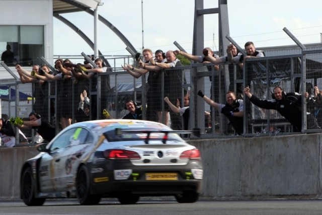 The BMR team celebrate their first BTCC victory (Photo: btcc.net)