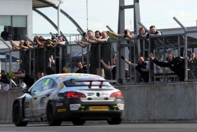 The BMR team celebrate their first BTCC victory (Photo: btcc.net)