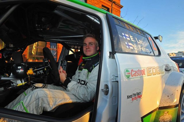 Lapping it up: Lappi makes the most of Breen's misfortune in Ireland (Photo credit: FIA ERC)