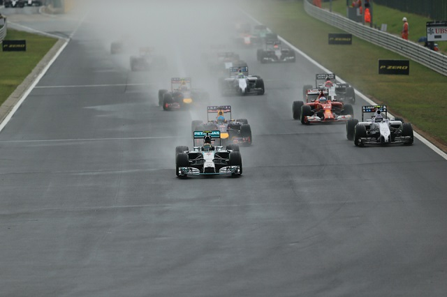 Nico Rosberg led away at the start in the wet conditions at the Hungaroring (Credit: Octane Photographic Ltd)