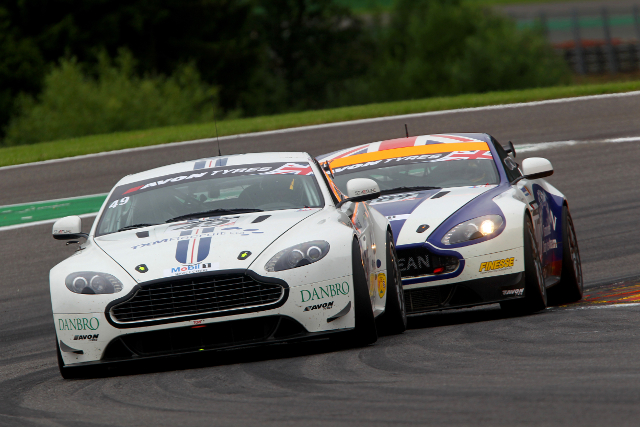 TF Sport and Beechdean AMR's GT4 Astons were this close for much of the second half of the race (Credit: Jakob Ebrey)