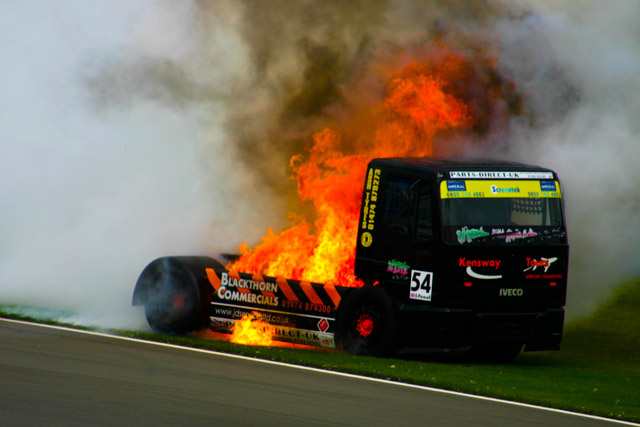 When things go wrong with trucks they go very wrong. The turbo failed on this Iveco at Donington last year. (Credit: Nick Smith/The Image Team)