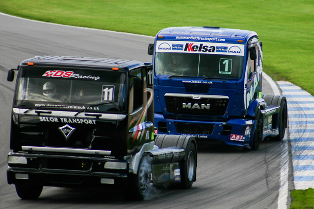 Close racing is a fact of life in the BTRA where the faster class 1 trucks start at the back of the grid. (Credit: Nick Smith/The Image Team)
