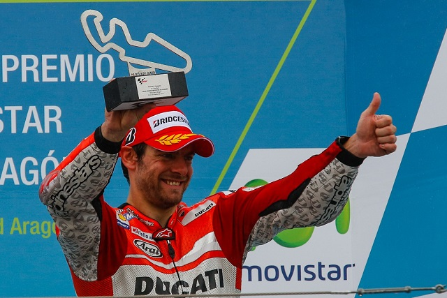 Crutchlow celebrates his surprise podium (Photo Credit: MotoGP.com)