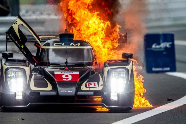 James Rossiter (GBR) / Pierre Kaffer (DEU) / Christopher Bouchut (FRA) / drivers of car #9 LMP1 LOTUS (ROU) Lotus T129 - AER Pit Lane Fire - 6 Hours of Fuji at Fuji Speedway - Shizuoka Prefecture - Japan