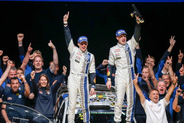 Latvala celebrates victory with co-driver Mikko Antilla (Credit: Volkswagen Motorsport)