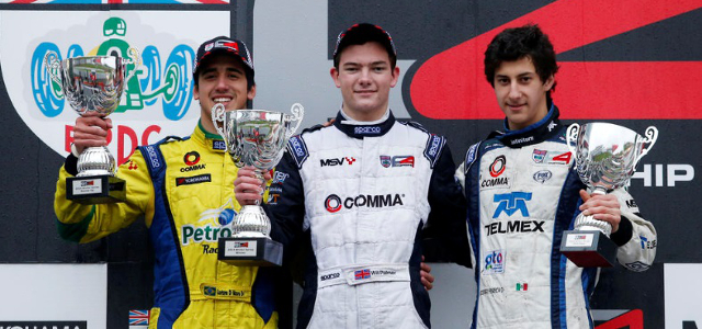 From L to R: Di Mauro, Palmer And Fonseca Headed Into Day Two In Title Contention - Credit: BRDC Formula 4