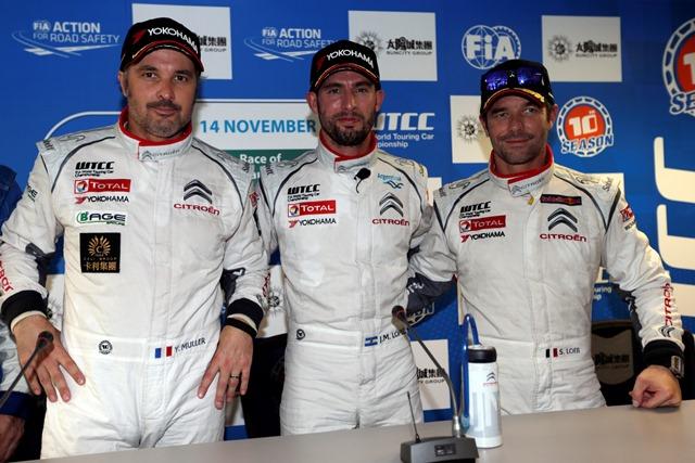 Yvan Muller, Jose Maria Lopez and Sebastien Loeb - Photo Credit: Citroen Racing Media