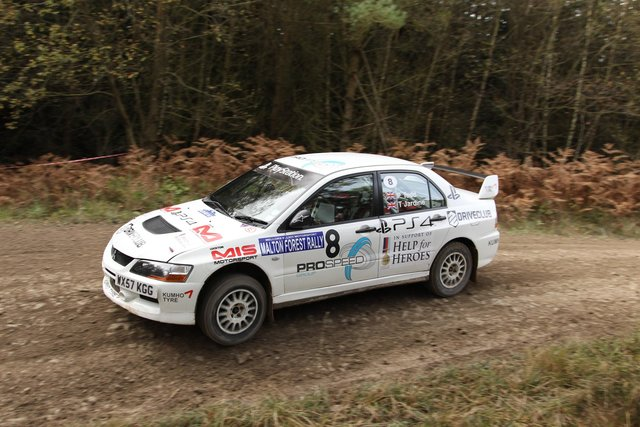 Peta Todd and Tony Jardine at speed on the Malton Forest Rally – they finished a fine 8th overall