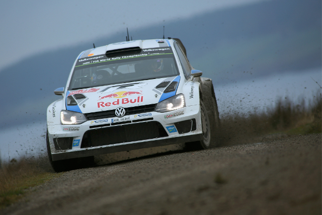 Ogier eased back on the slippery lakeside roads of the final day (Image: Volkswagen Motorsport)
