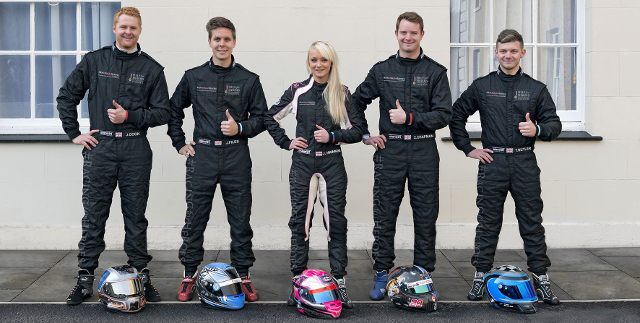 From L to R: Josh Cook, Josh Files, Jessica Hawkins, Zac Chapman, Tom Butler - Credit: Racing for Heroes