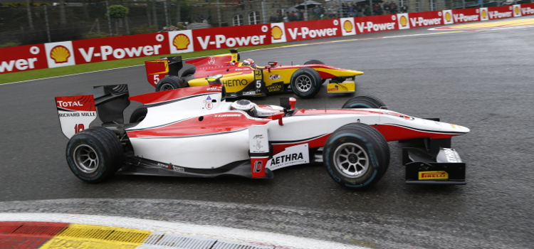 Vandoorne (Front) And .......... Diced It Out Around Spa - Credit: Jed Leicester/GP2 Series Media Service