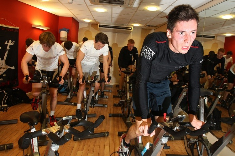 The Team UK drivers went through physical exercises at the College (Credit: MSA Press Office)