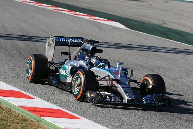 Rosberg was P2, despite using a tyre estimated to be two-second a lap slower than Grosjeans (Credit: Octane Photographic Ltd)