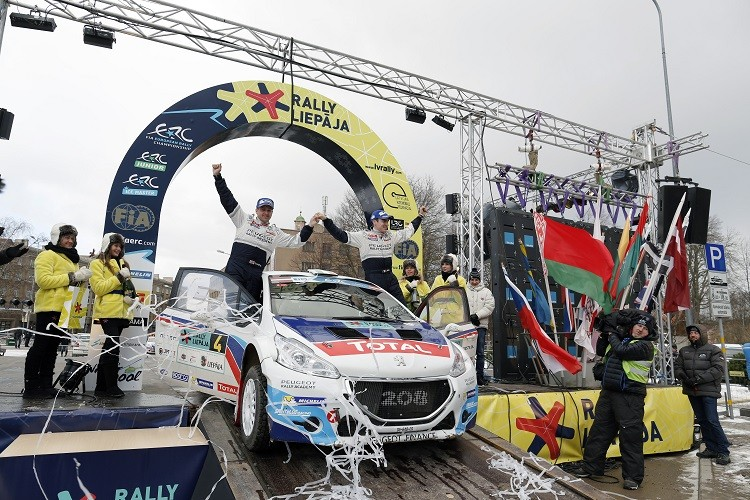 Craig Breen celebrates after his Rally Liepāja victory (Credit: ERC Media)