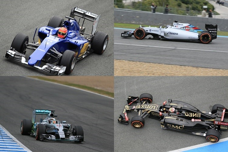 Nasr (top left), Bottas (top right) and Hamilton (bottom left) finished P2-P4, while Maldonado debuted the Lotus (all photos Credit: Octane Photographic Ltd)