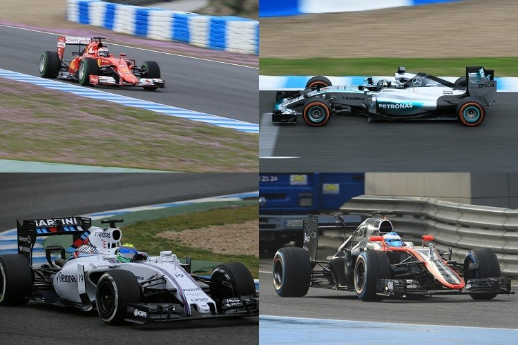Raikkonen (top left), Rosberg (top right) and Massa (bottom left) were P2 to P4, but Alonso (bottom right) struggled again (all photos Credit: Octane Photographic Ltd)