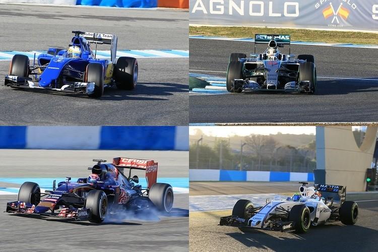 Ericsson (top left) impressed again in P2, Hamilton (top right) was P3, Verstappen (bottom left) P4  for STR & Massa (bottom right) P5 for Williams (all photos Credit: Octane Photographic Ltd)