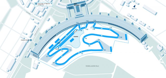 The circuit layout for the 2015 DHL Formula E Berlin ePrix