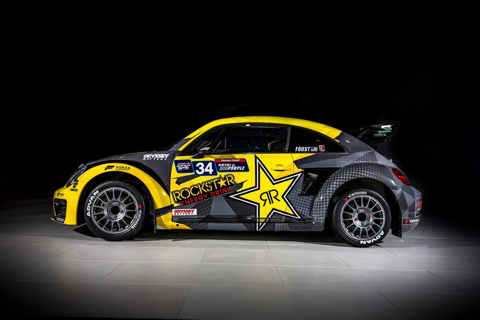 tanner foust unveils  rockstar energy varx beetle livery global rallycross  checkered
