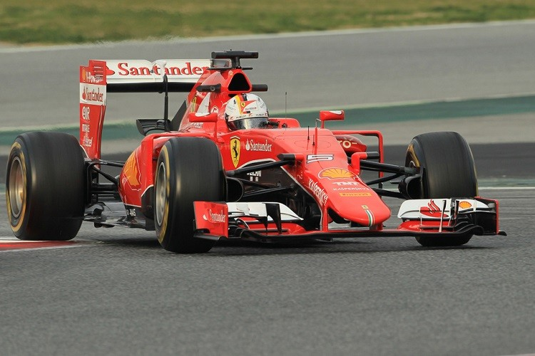 Sebastian Vettel was second on the final day of testing in Spain (Credit: Octane Photographic Ltd)