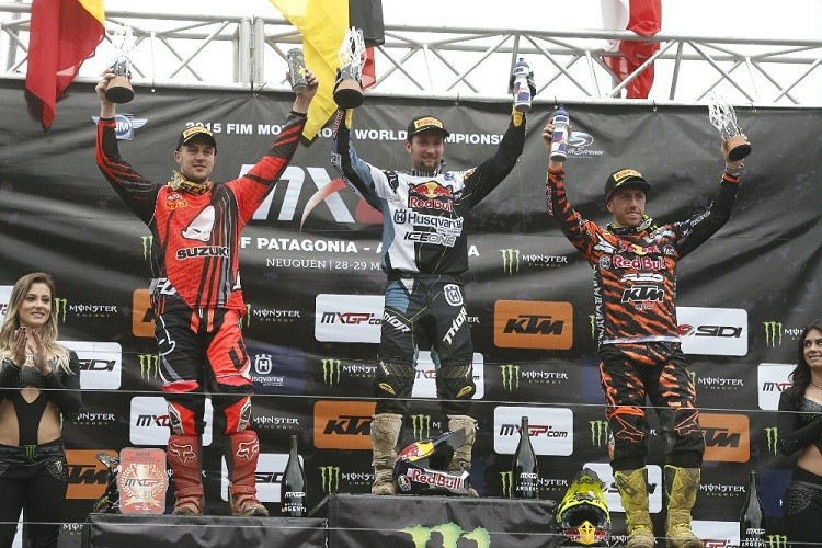 Max Nagl (centre) celebrates his victory in Argentina (Credit: Ray Archer/KTM Images)