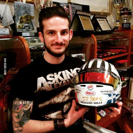 A helmet design, a tradition - Alex proudly displays his helmet design. (Credit: 9gag)