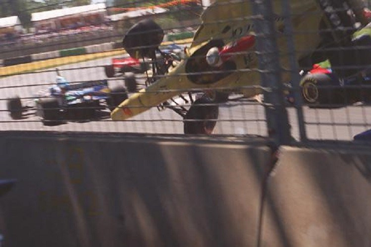 Martin Brundle flies on the opening lap of the '96 Australian GP (Credit: DocumentingReality.com)