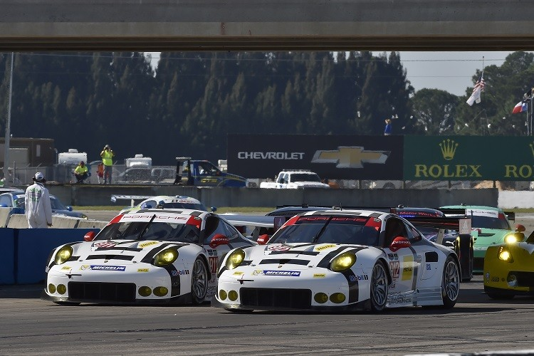 The two Porsche North America's entries were sitting 1-2 in GTLM after 9 hours (Credit: Scott R LePage/LAT Photo USA)