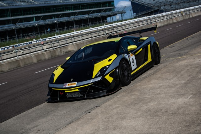 The Intersport Racing Lamborghini Gallardo SuperTrofeo stops for service at Rockingham.