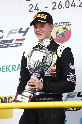 Mick Schumacher with his first single seater race winning trophy (Credit: ADAC Motorsport)