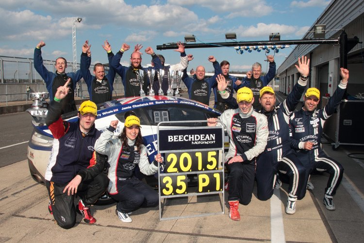 The Beechdean AMR team celebrate after the 24 Hour victory (Credit: Andy Fitzpatrick)