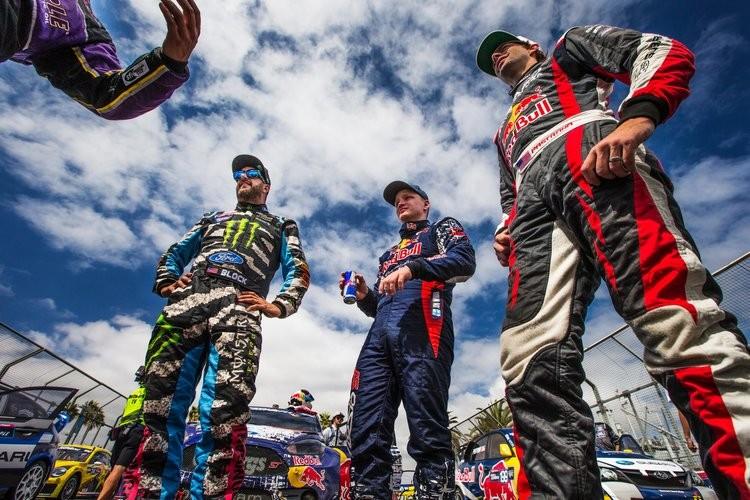 L-R Ken Block, Joni Wiman, Travis Pastrana - Credit: Red Bull Content Pool
