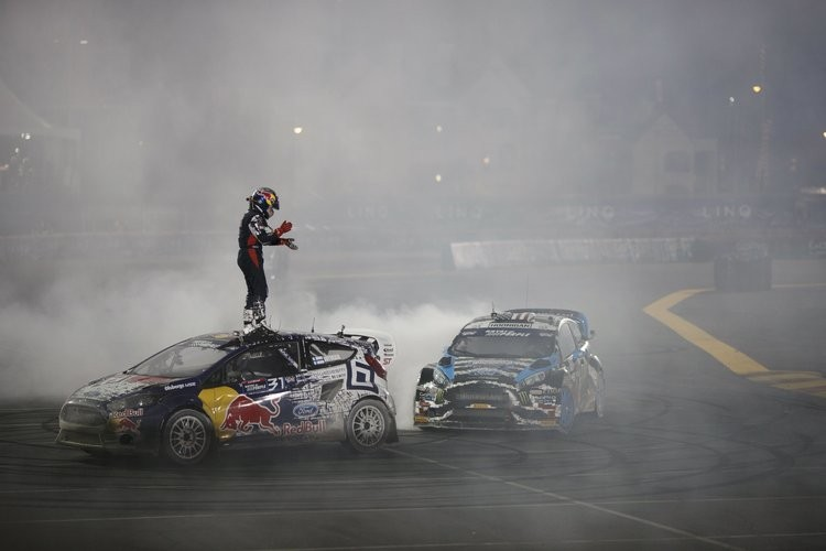 Ken Block joined in the celebrations and drove donuts around the newly-crowned champion Wiman in Las Vegas - Credit: Red Bull Content Pool
