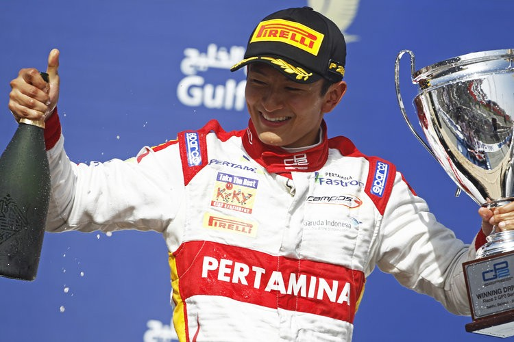 An elated Haryanto celebrates his win. (Credit: Sam Bloxham/GP2 Media Service)