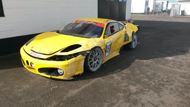 The John Stack Ferrari 430 lies broken and abandoned in parc ferme. (Credit: Nick Smith/Theimageteam.com)
