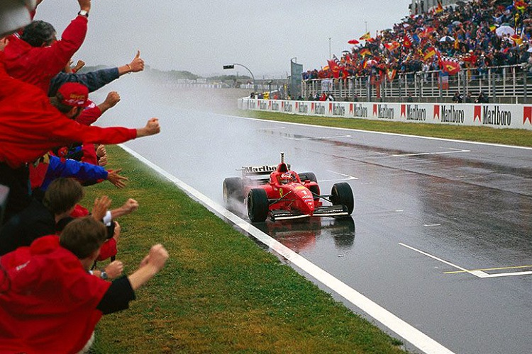 Michael Schumacher took his first Ferrari victory in dreadful conditions (Credit: http://f1greatestraces.blogspot.be)