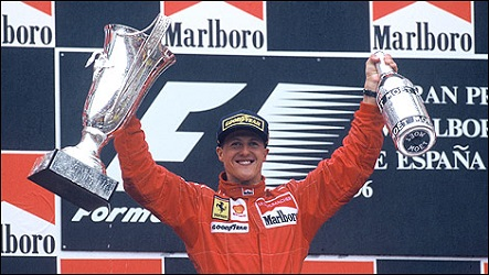 Schumacher celebrates on the podium (Credit: WRi2)
