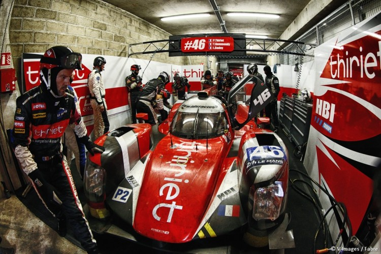 Thiriet by TDS Racing had to end their race from the garage. (Credit: V-Images/Fabre/Oreca)