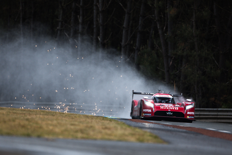 The Nissan GT-R LM Nismo LMP1 cars failed to impress but were not as slow as initially feared. (Credit: Nissan)