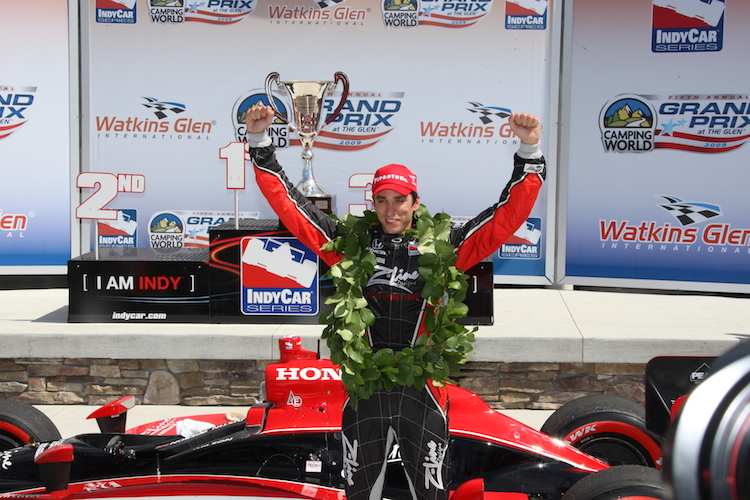 Justin Wilson celebrates his second IndyCar win, and the first for Dale Coyne Racing, at the 2009 Watkins Glen race.