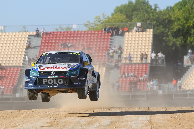 Johan Kristoffersson jumped his way into P2 in Spain (Credit: FIA World Rallycross Championship)