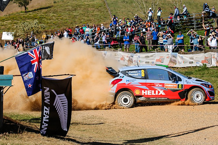 Hayden Paddon showed promise in the #8 Hyundai i20 WRC