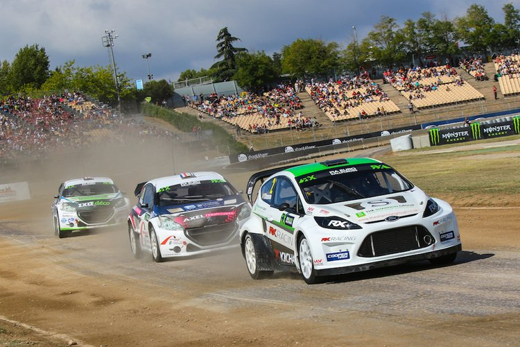 Ollie O'Donovan leads the Pailler Competition Peugeot's at Barcelona Credit: IMG / FIA World RX