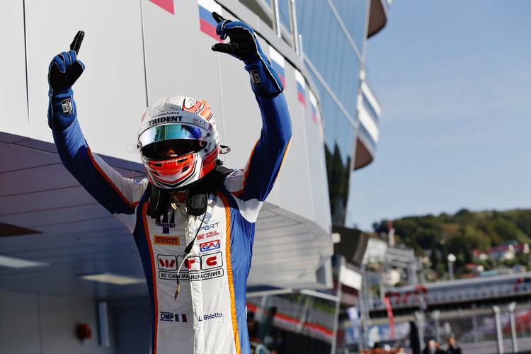 2015 GP3 Series Round 7.  Sochi Autodrom, Sochi, Russia  Sunday 11 October 2015. Luca Ghiotto (ITA, Trident) celebrates his win. Photo: Sam Bloxham/GP3 Series Media Service.  ref: Digital Image _SBL3712