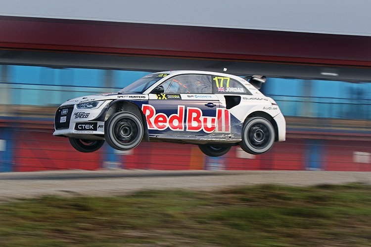 High-flying Andrew Jordan in the EKS RX Audi A1 - Credit: IMG / FIA WorldRX